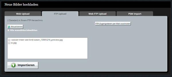 Jetzt Bilder per Web-FTP hochladen